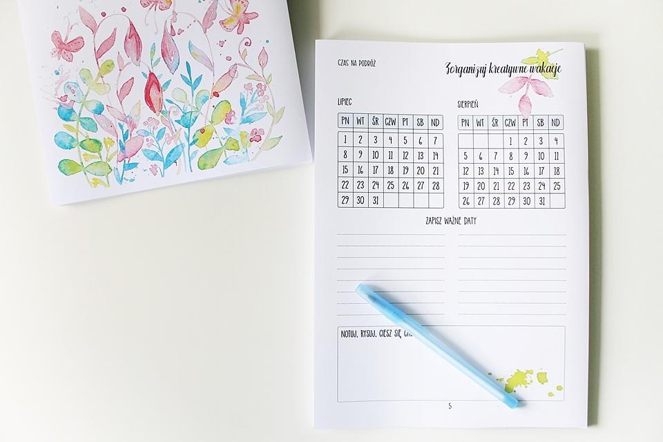 planowanie wakacji kalendarz
